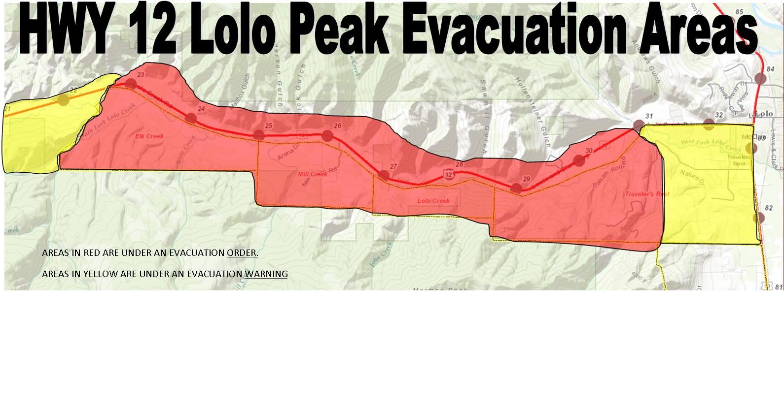 Lolo Peak fire's evacuation orders, warnings now include 1150 homes