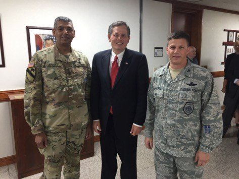 Daines with General Brooks, Commander of United States Forces Korea/UN Command/Combined Forces Command; and US Air Force Colonel Steven Edwards from Missoula, Montana