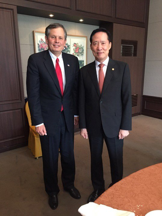 Daines with South Korea's defense minister, Song Young-moo where they met to discuss current regional threats and response