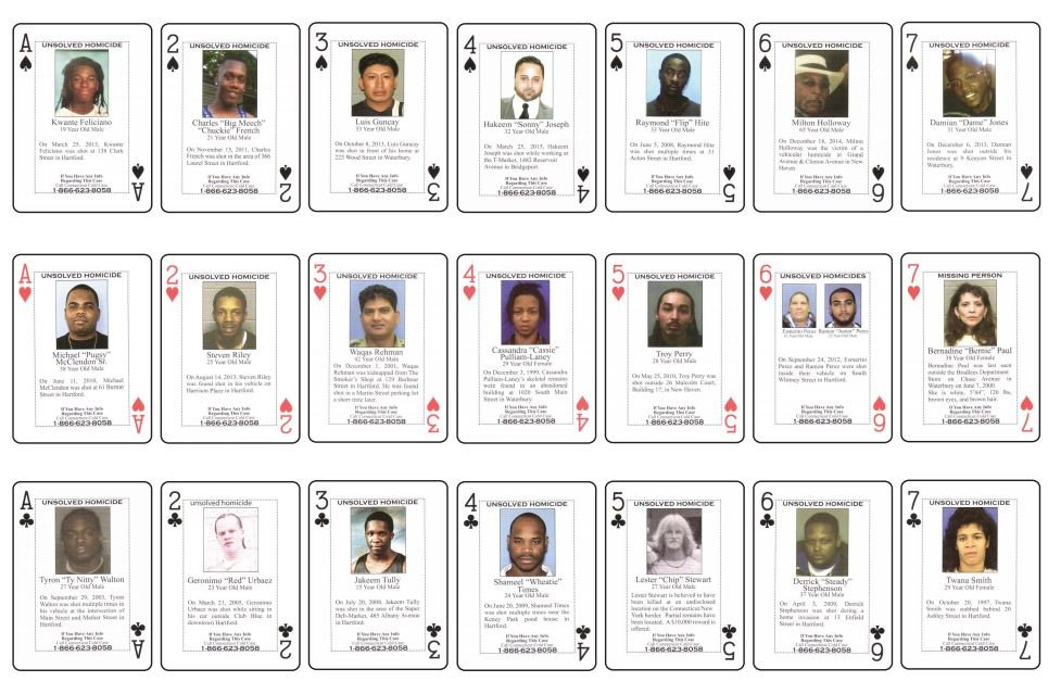 An example of cold case cards used in Connecticut. Photo: Dept. of Corrections