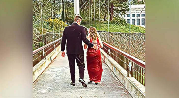 "This is a photo taken earlier in the evening of Christopher and his prom date while they walked through Riverfront Park to take prom photos. Stephanie shared this photo in her Facebook post, saying it was edited with a filter called ""superman."""