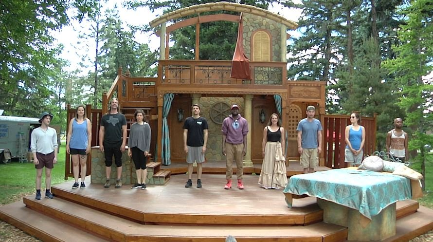 The cast for Shakespeare in the Parks' Othello prepares their curtain call during rehearsal. June 13, 2018.