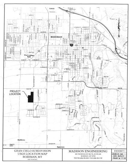 A map of the proposed Gran Cielo project location in southwest Bozeman.