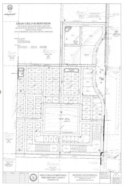 A map of the proposed Gran Cielo subdivision in Bozeman.