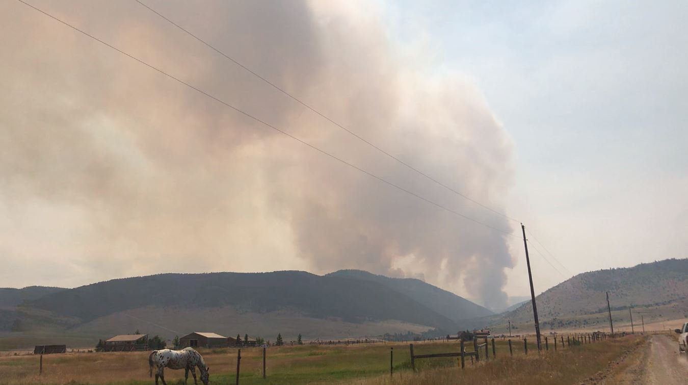 The Wigwam Fire burns near Ennis on August 13, 2018.