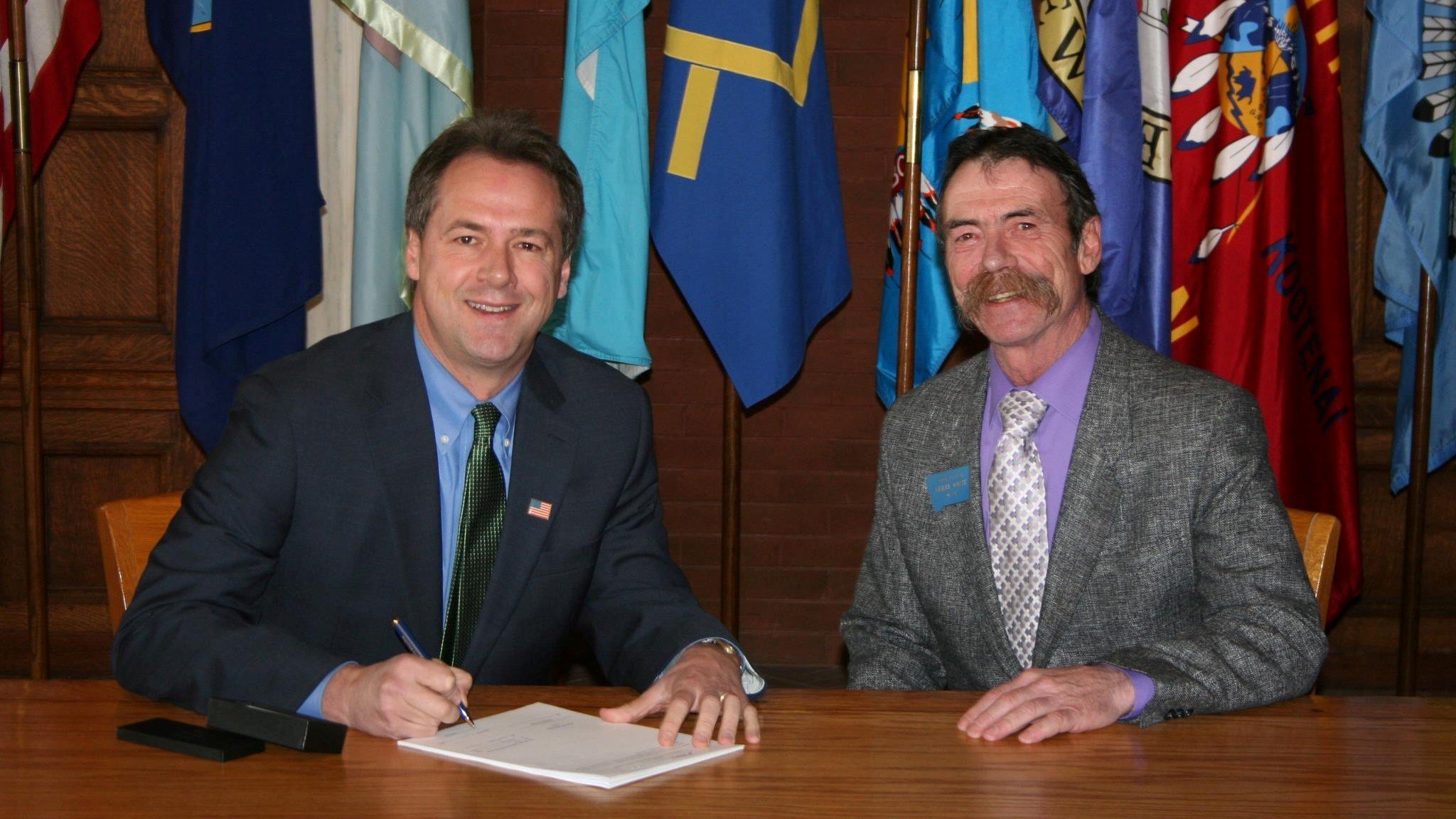 Kerry White (right), Bozeman's state representative, with Montana Governor Steve Bullock. Photo Credit: Facebook / Kerry White
