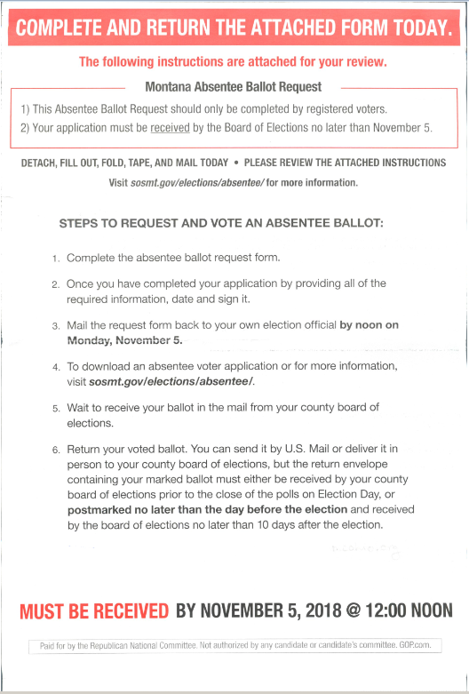 Incorrect mailer (provided by Butte Silver Bow County Elections Office)